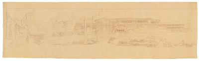 Marion Mahony Griffin, rendering of un-built Henry Ford Dwelling, Dearborn, Mich., 1912. Mary and Leigh Block Museum of Art
