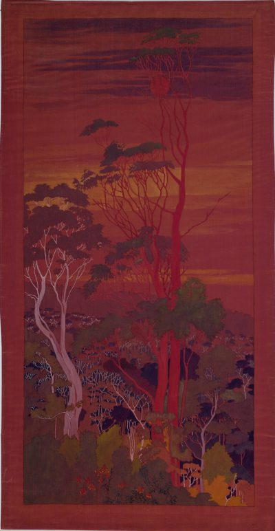 Marion Mahony Griffin, Eucalyptus Urnigera Tasmania/Scarlet Bark, Sunset, watercolor and ink on silk, circa 1919. Mary and Leigh Block Museum of Art
