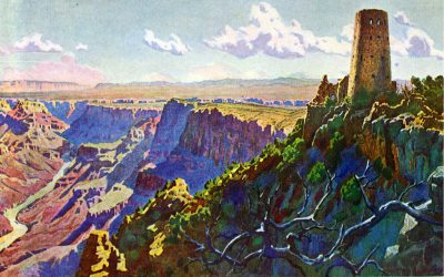 Mary Jane Colter, Desert View Watchtower postcard from a painting by Gunnar Widforss, published in 1932 by the Fred Harvey Company. Grand Canyon Museum Collection