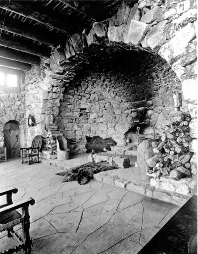 Mary Jane Colter, Grand fireplace, Hermit's Rest, Grand Canyon, 1914. Photograph 1916. Grand Canyon Museum Collection