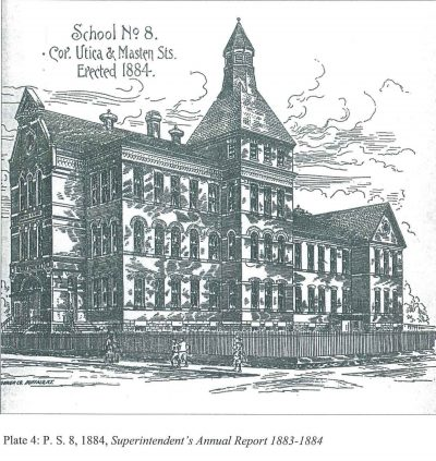 Bethune & Bethune Architects, Public School No 8, Buffalo, N.Y. Perspective sketch, 1884, published in the Superintendent's Annual Report, 1883–1884. Buffalo History Museum