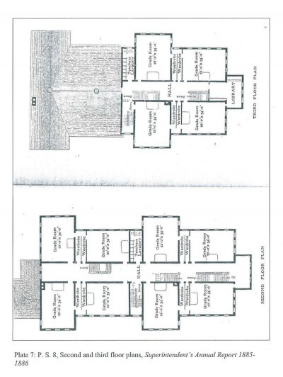 Bethune & Bethune Architects, Public School No. 8, Buffalo, N.Y. Second and third floor plans, 1886, published in the Superintendent's Annual Report, 1885–1886. Buffalo History Museum