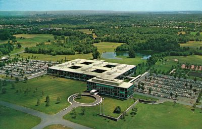 Skidmore, Owings & Merrill, Natalie de Blois (Senior Designer), postcard aerial view of Connecticut General Life Insurance Company, Hartford, Conn., 1957. Photograph by Ezra Stoller, circa 1957 © Ezra Stoller/Esto