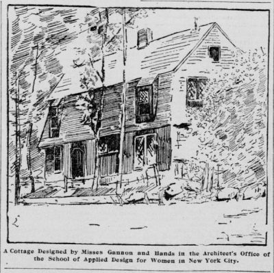 Mary Nevan Gannon and Alice J. Hands, A Cottage, newspaper sketch. San Francisco Call, May 24, 1896, 27