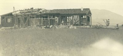 Lilian J. Rice, the estate home of the Millard family during framing, Rancho Santa Fe, 1927. Courtesy of the Ragan Family.