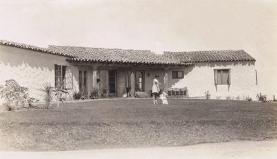 Lilian J. Rice, the Millard home, with daughter Natalie and pet dog, Rancho Santa Fe, circa 1927. Courtesy of the Ragan Family