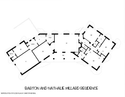 Plan of the Millard home, recreated by Christopher Real. Courtesy of Diane Welch