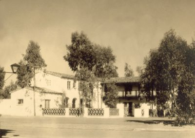 Lilian J. Rice, La Valenciana Apartments, mixed-use complex, Paseo Delicias, Civic Center, Rancho Santa Fe, 1928. Rice had her office here and used upper-story apartments for her male draftsmen. Courtesy of the Ragan Family