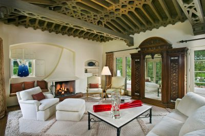 Lilian J. Rice, interior of Hamilton Carpenter estate home, El Mirador, Rancho Santa Fe, 1928. Note the workmanship in the ceiling treatment, a signature Rice architectural detail. Photograph by Darren Edwards