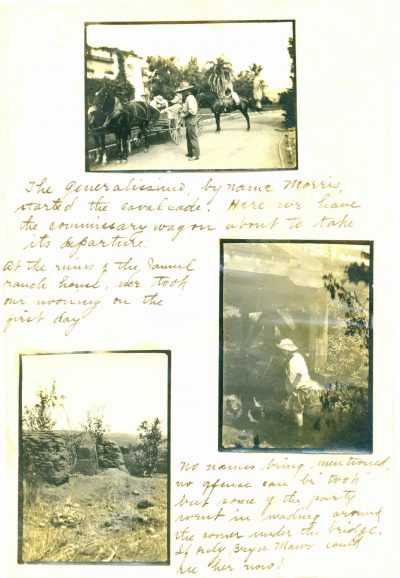 One page of Lilian J. Rice's private journal depicting a back country trip to Rancho Jamul, San Diego County, Calif. The image to the right shows Rice with her skirt hitched up, wading in a stream, circa 1910. Courtesy of Diane Welch
