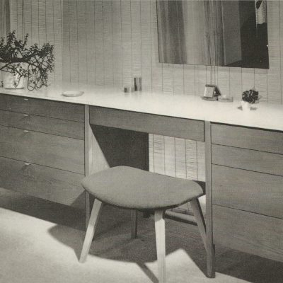 Florence Knoll, Suspended Vanity 329-1, 1960–73, and 62 Ottoman © Knoll, Inc.