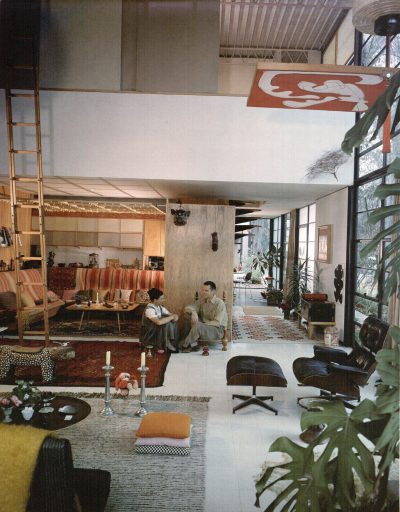 Ray Eames and Charles Eames, living room in the Eames House, Pacific Palisades, Calif. Photograph by Julius Shulman, 1958 © J. Paul Getty Trust/Julius Shulman Photography Archive Research Library at the Getty Research Institute/Eames Office