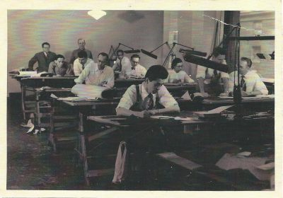 Georgia Louise Harris Brown (third from right) at work in the office of Frank Kornacker, structural engineer. Photograph by Edwards, circa late 1940s. Courtesy of the Brown family