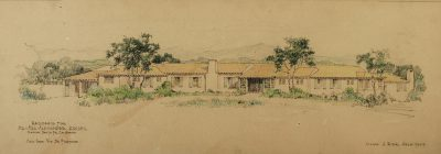 Lilian J. Rice, presentation drawing for the proposed, un-built Krisel estate home, Via de Fortuna, Rancho Santa Fe, circa 1935. Photograph by Ron Krisel. Courtesy of William Krisel