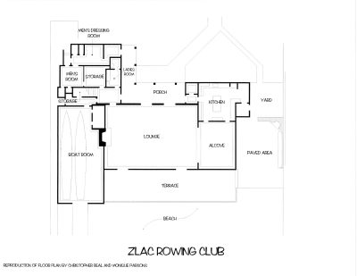 Lilian J. Rice, plan of ZLAC Rowing Clubhouse, recreated by Monique Parsons and Christopher Real. Courtesy of Diane Welch