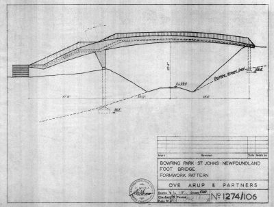 Van Ginkel Associates and Ove Arup & Partners, formwork drawing for the Foot Bridge in Bowring Park, St. John's, Newfoundland, Canada, 1959. City of St. John's Archives