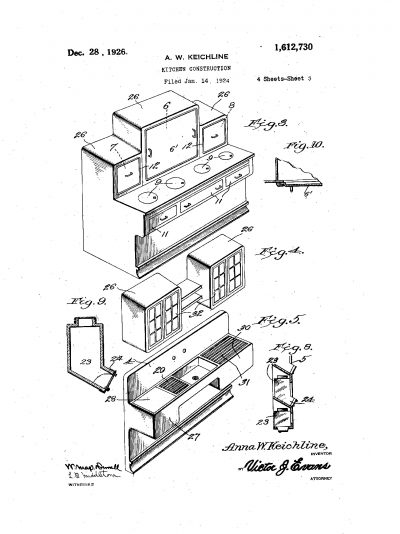 "Anna Keichline, Patent for ""Kitchen Construction,"" #1,612,730 A, filed January 14, 1924, issued December 28, 1926"