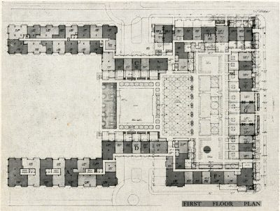 Chloethiel Woodard Smith, Chloethiel Woodard Smith & Associated Architects, first floor (terrace level) plan of Harbour Square, Washington, D.C., 1965–67. Architectural Record, September 1963