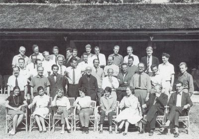 Participants at the CIAM '59 meeting in Otterlo, Blanche Lemco van Ginkel is seated first row, third from the right, 1959. Max Risselada and Dirk van den Heuvel, Team 10: In Search of a Utopia of the Present 1953–1981 (Rotterdam: NAi Publishers, 2005), 60
