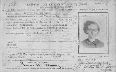 Georgia Louise Harris Brown's visa to travel to Brazil, 1953. Arquivo Nacional, Rio de Janeiro, Brazil
