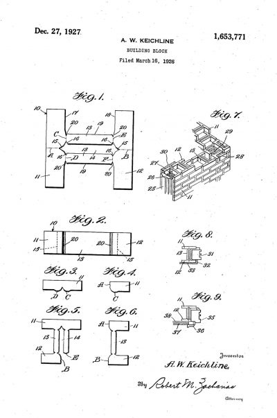 "Anna Keichline, Patent for ""Building Block,"" #1,653,771 A, filed March 16, 1926, issued December 27, 1927"