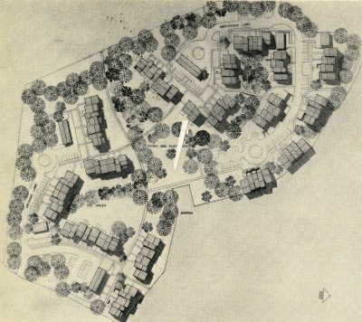 Chloethiel Woodard Smith, Satterlee & Smith and Chloethiel Woodard Smith & Associated Architects, site plan for The Lake Cluster, Lake Anne, Reston, Va., 1962–65. Architectural Record, July 1964