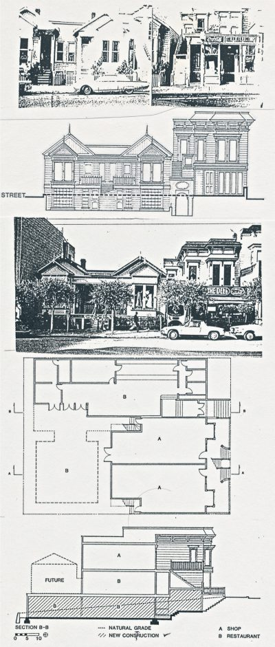 Beverly Willis, Union Street Shops, top to bottom: pre-renovation, elevation, post-renovation, plan, and section, San Francisco, 1965. Beverly Willis Archive