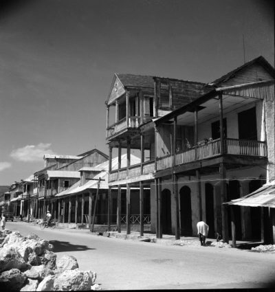 Typical street in Port-au-Prince, Haiti, published in Sibyl Moholy-Nagy's Native Genius in Anonymous Architecture, 1957, 123. Photograph by Sibyl Moholy-Nagy. Special Collections and Archives, UCSC © Hattula Moholy-Nagy