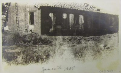 The derelict Silvas/Osuna adobe in 1925 before Lilian J. Rice's restoration for Alfred and Blanche Barlow, Rancho Santa Fe. Courtesy of the Barlow Family