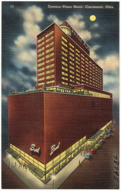 Skidmore, Owings & Merrill, Natalie de Blois (Design Coordinator), postcard night view of Terrace Plaza Hotel, Cincinnati, O., 1940–48, based on a photograph by Ezra Stoller. Boston Public Library, Prints Department