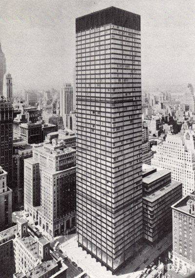 Skidmore, Owings & Merrill, Natalie de Blois (Senior Designer), Union Carbide Building taken from Waldorf Astoria Hotel, New York City, May 1961
