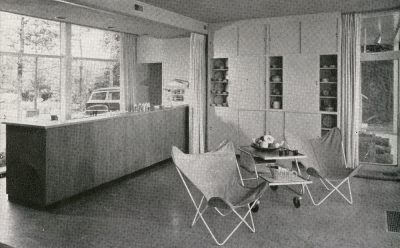 Chloethiel Woodard Smith, Keyes, Smith, Satterlee, and Lethbridge, interior of Week-end House for Colonel and Mrs. Julius Wadsworth, Fairfax, Va., 1952. House and Garden, August 1952