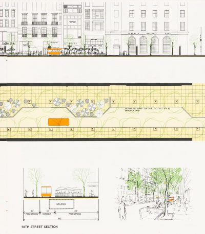 """Van Ginkel Associates, detailed renderings, section, plan, and elevation of 48th Street in New York, taken from the section, """"Minibus,"""" in the study, """"Movement in Midtown,"""" 1970. Centre Canadien d'Architecture/ Canadian Centre for Architecture"""