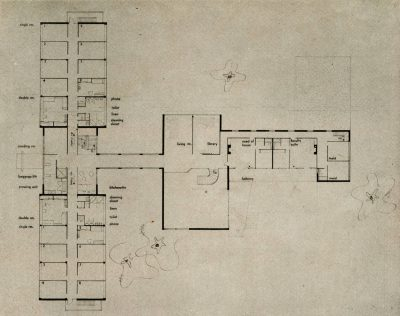 Jean Bodman Fletcher, Norman C. Fletcher, and Benjamin Thompson, second-floor plan, Smith College Dormitory competition, Progressive Architecture, April 1946
