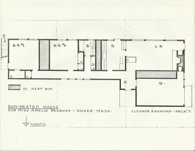 Eleanor Raymond, floor plan, Peabody Sun House, Dover, Mass., 1948. Harvard University Graduate School of Design, Frances Loeb Library, Special Collections