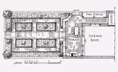 Eleanor Raymond, garden plan, 112 Charles Street, Boston, 1923. House Beautiful Magazine/Hearst Communications, Inc.