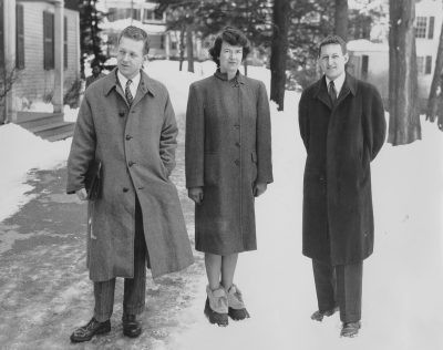 Publicity photograph of (from left to right) Benjamin Thompson, Jean Bodman Fletcher, and Norman C. Fletcher as first-prize winners of the Smith College Dormitory competition, released in connection with the exhibition, New Dormitories for Smith College, The Museum of Modern Art, New York, 1946. Photograph by Fred G. Chase
