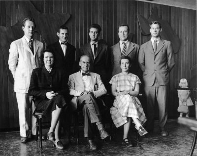 The Architects Collaborative, partners, circa 1951. Bottom row from left to right: Jean Bodman Fletcher, Walter Gropius, Sarah Pillsbury Harkness. Top row from left to right: Benjamin Thompson, Norman C. Fletcher, Robert McMillan, Louis A. McMillen, John C. Harkness. Courtesy of Perry Neubauer