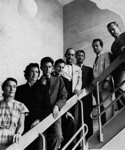 The Architects Collaborative, partners, circa 1951. From left to right: Sarah Pillsbury Harkness, Jean Bodman Fletcher, Robert McMillan, Norman C. Fletcher, Walter Gropius, John C. Harkness, Benjamin Thompson, Louis A. McMillen. The Architects Collaborative (Teufen: Arthur Niggli, 1966)