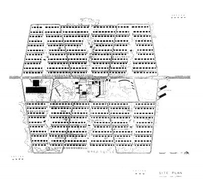 Jean Bodman Fletcher, thesis project for Central Valley, Calif., site plan. Arts & Architecture, May 1945
