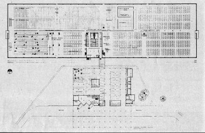 Jean Bodman Fletcher, thesis project for Central Valley, Calif., plan of factory. Arts & Architecture, May 1945