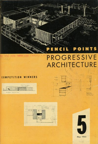 "Cover with winning entry by Jean Bodman Fletcher and Norman C. Fletcher for Pencil Points-Pittsburgh design competition for ""A House for Cheerful Living."" Progressive Architecture, May 1945"