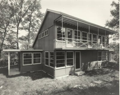 Eleanor Raymond, rear elevation, Peabody Plywood House, Dover, Mass., 1940. Harvard University Graduate School of Design, Frances Loeb Library, Special Collections