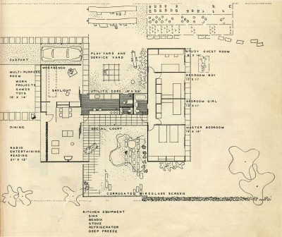 "Jean Bodman Fletcher and Norman C. Fletcher, plan, Pencil Points-Pittsburgh design competition for ""A House for Cheerful Living,"" Progressive Architecture, May 1945"
