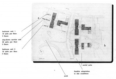 Jean Bodman Fletcher, Norman C. Fletcher, and Benjamin Thompson, site plan, Smith College Dormitory competition, Progressive Architecture, April 1946
