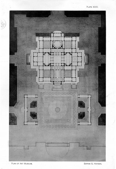 Sophia Hayden, plan, Museum of Fine Arts, MIT thesis, 1890. Technology Architectural Review, 3, no. 5, 1890. Rotch Library, MIT
