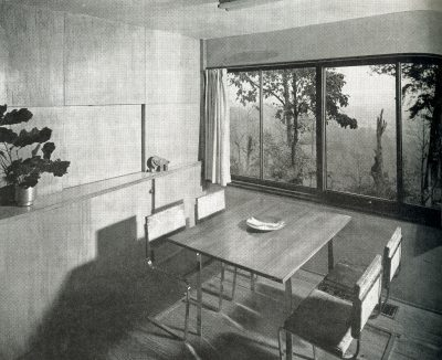 Alfred and Jane West Clauss, interior, Clauss Residence II (Redwood House), Little Switzerland, Knoxville, Tenn., 1943. Progressive Architecture, February 1946