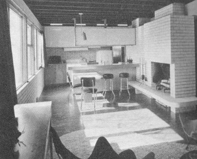 "Alfred and Jane West Clauss, interior of Peter Clauss Residence, Wallingford, Penn., 1954. With ""imaginative and joyful living"" the primary objective, the ground floor (dining, kitchen, and recreation areas) is completely open, and extends upon a ""living terrace."" Published in Katherine Morrow Ford and Thomas H. Creighton, Quality Budget Houses (New York: Reinhold, 1954). Courtesy of the Clauss family"