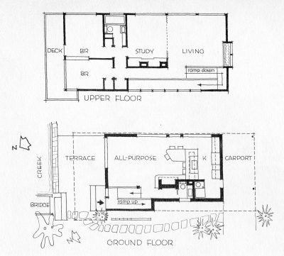 Alfred and Jane West Clauss, plans of Peter Clauss Residence, Wallingford, Penn., 1954. Published in Katherine Morrow Ford and Thomas H. Creighton, Quality Budget Houses (New York: Reinhold, 1954). Courtesy of the Clauss family