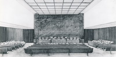 Jane West Clauss, perspective study for the Federal Courthouse in Philadelphia, which she designed with Alfred Clauss. Courtesy of the Clauss family